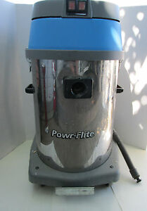 Powr flite Pf47 Commercial Wet dry Vacuum Duel Motor 20 Gal Tank Made In Italy S