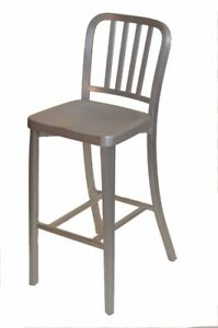 Closeout New Shipyard Collection Aluminum Vertical Back Restaurant Bar Stool