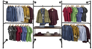 Three Unit Industrial Pipeline Wall Display Rack W 2 Dark Brown Wood Shelves