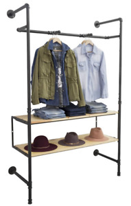 Industrial Pipeline Wall Unit Apparel Display Rack W 2 Natural Wood Shelves