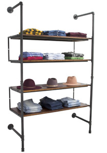 Industrial Pipeline Wall Unit Apparel Display Rack W 4 Dark Brown Wood Shelves