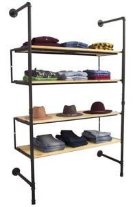 Industrial Pipeline Wall Unit Apparel Display Rack W 4 Natural Wood Shelves