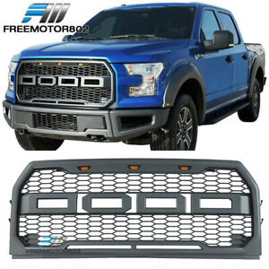 Fits 15 17 Ford F150 Pickup 4dr Front Bumper Hood Mesh Grille Abs Raptor Style