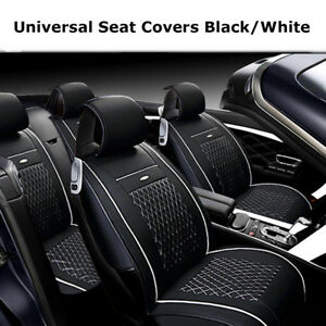Us Universal Car Auto Leather Seat Covers Cushion Front rear pillows Black white