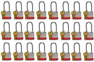 Lion Locks 5pls Keyed alike Padlock 1 9 16 inch Wide 2 inch Shackle 24 pack