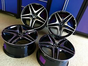 18 Inch Mercedes Black Edt Sl63 Rims Wheels Set4 New Fit Cls550 Cls500 Sl550 Amg