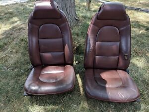 Saab Classic 900 Maroon Burgundy Front Heated Seats Real Leather 88 89 90 91