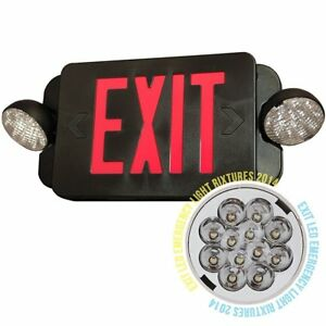 Fdl2br b Black Finished Led Exit Sign Emergency Light Red Compact New