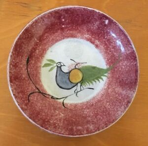 Rare Antique Peacock Red Peafowl Spatterware Saucer Staffordshire Buy It Now