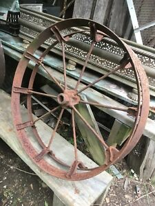 Vtg Industrial Primitive Farm Country Cast Iron Metal Wagon Wheel Tractor 30in