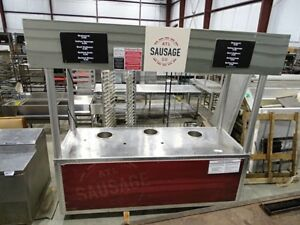 Stainless Steel Commercial Heated Food Vending Cart On Commercial Casters