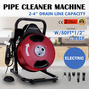 50ft 1 2 Drain Auger Pipe Cleaner Cleaning Machine 160rpm Sewer Snake Plumber