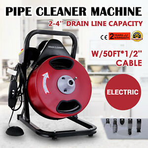 50ft X 1 2 compact Electric Drain Pipe Cleaner Sewer Snake Auger Cable W Cutter