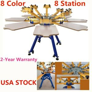 Us Stock 8 Color Silk Screen Printing Machine 8 Station T shirt Printer