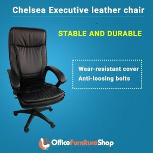 Chelsea Office Executive Chair With Adjustable Headrest In Pu Leather Black