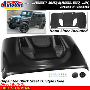 Jeep Wrangler Jk 2007 2018 Tc Style Steel Hood Panel Full Metal Air Inlets
