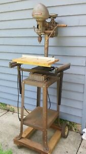 Vintage Drill Press Delta Milwaukee Homecraft With Stand And Extras Working