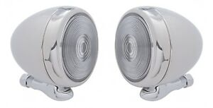 Pair Chrome Dummy Spot Lights Classic Metal 5 Teardrop Lamps