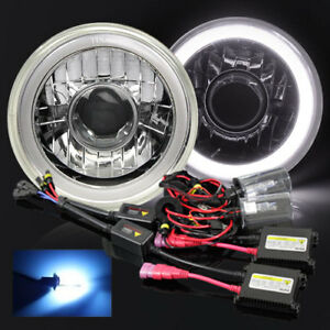 7 Round Hi power 3d White Smd Halo Crystal Projector Headlights W 10000k Hid