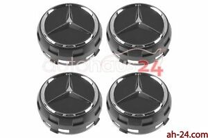 Mercedes 0004000900 Raised Black Center Cap W Chrome Star Oem 4 Set Genuine