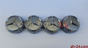 Mercedes 0004000900 Raised Silver Center Cap W Chrome Star Oem 4 Set Genuine