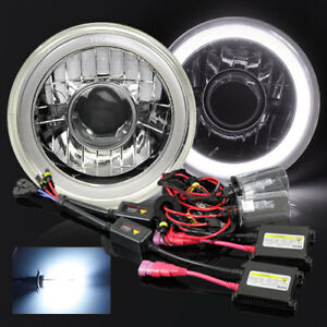 7 Round Par56 Chrome Hi power 3d White Smd Halo Projector Headlights 8000k Hid