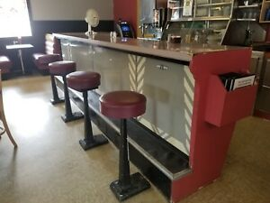 Antique Diner Style Bar With Stools 1930s 1940 1950s