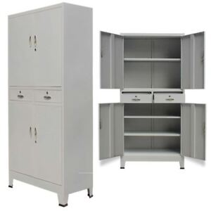 Office Filing Cabinet Locker 4 Door Steel File Organizer Storage Cupboard