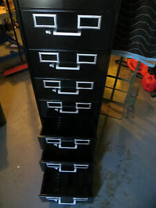 Tennsco 8 drawer Card File Cabinet Black Pickup Only