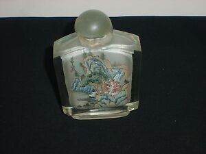 Antique Chinese Reverse Interior Painted Glass Snuff Bottle Water Fall No Spoon