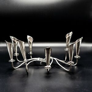 Pair Of Mid Century Calla Lily Silver Plated Candelabra By Jensen Denmark