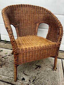 Vintage Mid Century Tropical Tiki Natural Woven Wicker Bamboo Rattan Arm Chair