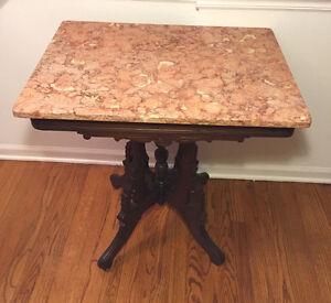 Antique Victorian Pink Marble Top Table Nice Detailing On Wood Frame