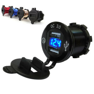 Black Cnc Dual 2 1a Car Motorcycle Usb Smart Charger Power Outlet Voltmeter Led