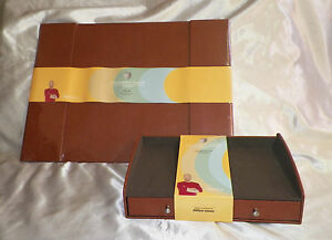 2 Pc Office Desk Pad Set Saddle Brown By Upscale Designer Christopher Lowell New