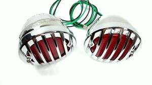 Pair 1933 36 Ford Car Led Tail Lights Chrome Metal Grille Bezel 12v
