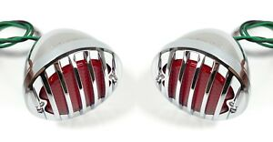 Pair 1933 36 Ford Car Led Tail Lights Chrome Metal Grille Bezel 12v both Rh
