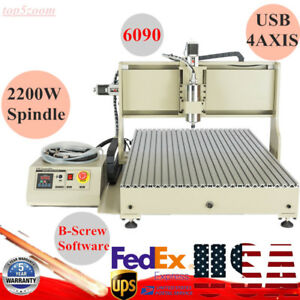 Usb Cnc 6090 4axis Engraver Router Engraving Metal Drilling Machine 2200w Gift