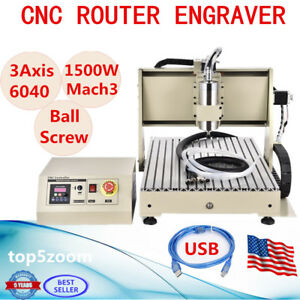 Usb 6040 3 Axis 1500w Cnc Router Engraver Vfd Engraving Carving Drilling Machine
