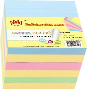 4a Sticky Note Self stick Note Lined Memo Pad Stationery 6 Pads Total 600 Sheets