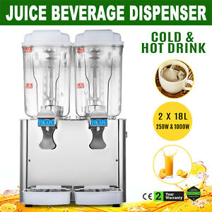 36l 9 5gal Juice Beverage Dispenser 2 Tank Cold And Hot Drink Fruit Juicer