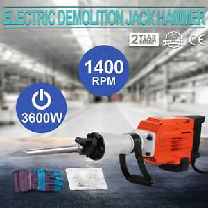 3600w Electric Demolition Jack Hammer Concrete Breaker Punch Construction Hd New