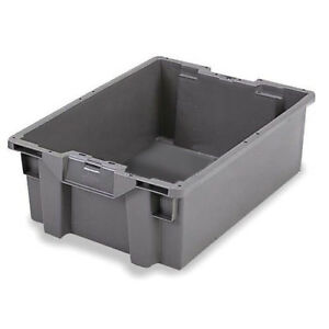Orbis Stack n nest Pallet Container 23 5 8 X 15 3 4 X 7 1 8 Gray Lot Of 5