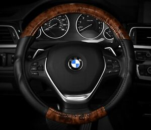 Wood Grain Steering Wheel Cover Black And Wood Grain Fits 14 5 15 5
