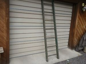 19th C Old Early Primitive Wood Barn Loft Ladder In Rare Original Green Paint