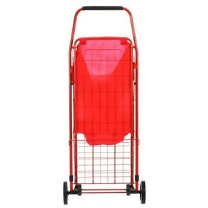4 Wheel Utility Cart With Liner For Shopping Laundry Foldable Durable Red New