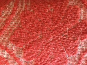 Great Antique Piece Of Old Home Spun And Great Coverlet In The Coral Color