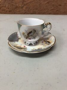 Vintage Tea Cup And Saucer Hand Painted Birds