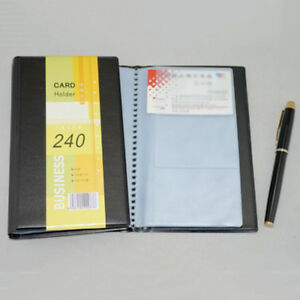 Business Leather 240 Cards Holder Id Credit Book Case Keeper Organizer Black