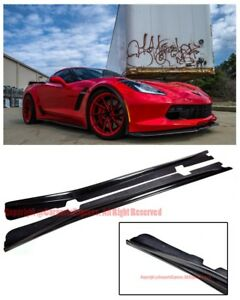 Carbon Fiber Bottom Line Side Skirts Rocker Panel For 14 up Corvette C7 Stingray